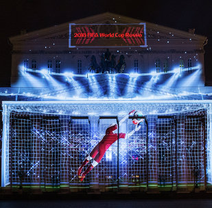 The official 2018 FIFA World Cup logo presentation at the Bolshoi Theater's facade in Moscow.