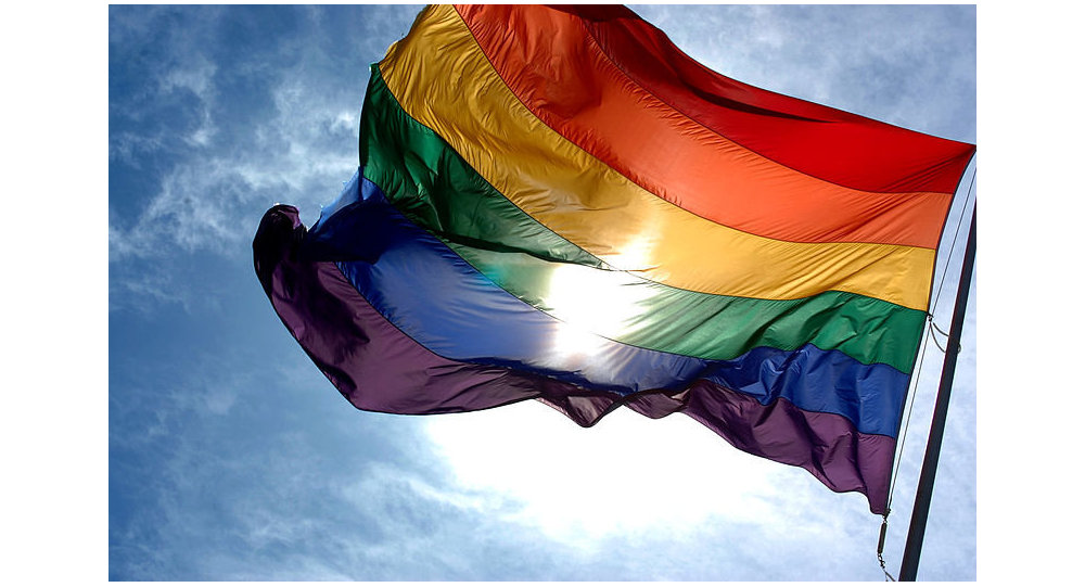 The rainbow flag symbolizes gay pride