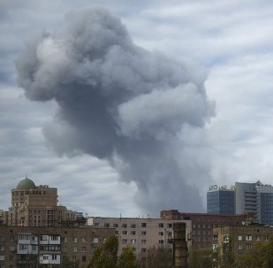 Smoke rises after shelling in the city of Donetsk, eastern Ukraine