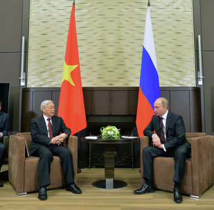 Russian President Vladimir Putin, second right, meets with General Secretary of the Central Committee of the Communist Party of Vietnam Nguyen Phu Trong, second left, at the Bocharov Ruchei residence in Sochi.