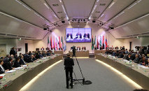 OPEC ministers and delegates gather for a meeting of the Organization of the Petroleum Exporting Countries (OPEC) at its headquarters in Vienna, Austria.
