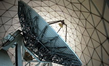 A satellite dish is photographed inside of a receiver, a so-called Radom, at the German Intelligence Agency,BND , facility near the Mangfall barracks in Bad Aibling, near Munich Germany