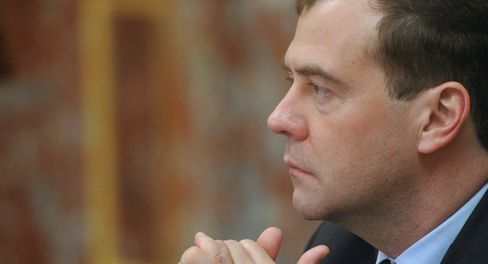 Russian Prime Minister Dmitry Medvedev meeting with miniters