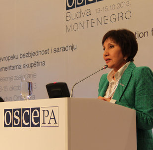Roza Aknazarova (Kyrgyzstan) delivers keynote address at OSCE PA Autumn Meeting's second session