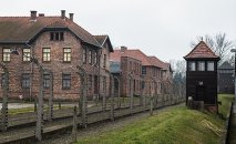 Auschwitz concentration camp Museum. 20.01.2015 in Oswiecim, Poland. In the picture: barbed wire fence surrounded the camp