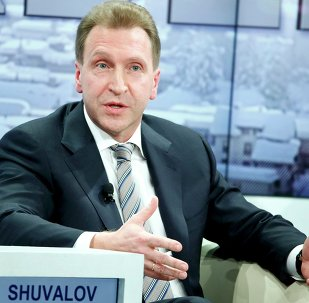 Russian first deputy Prime Minister Igor Shuvalov gestures during the session 'Growing in Harder Times' in the Swiss mountain resort of Davos January 23, 2015