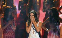 Miss Colombia Paulina Vega reacts just before being crowned the winner at the 63rd Annual Miss Universe Pageant in Miami, Florida, January 25, 2015.