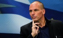 Newly appointed Greek Finance Minister Yanis Varoufakis attends a hand over ceremony in Athens, January 28, 2015