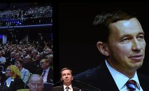 Bernd Lucke, chairman of eurosceptic German party Alternative fuer Deutschland or Alternative for Germany (AfD) delivers his speech in front of a screen during a party meeting in Bremen January 31, 2015.
