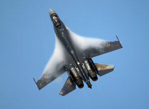 A Sukhoi SU-35 jetfigther performs its demonstration flight during the 50th Paris Air Show at Le Bourget airport, north of Paris