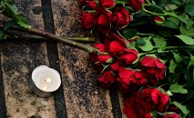 Flowers on murder scene of politician Boris Nemtsov
