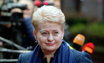 Lithuanian President Dalia Grybauskaite arrives for an EU summit in Brussels