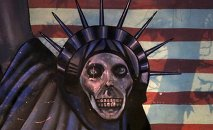 Satirized painting of the Statue of Liberty painted on the wall of the former US Embassy, in Tehran, Iran