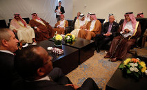 Arab foreign ministers talk informally in a lounge of the conference center before a formal meeting of Arab foreign ministers, in Sharm el-Sheikh, South Sinai, Egypt