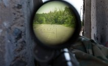 View through a sniper's rifle