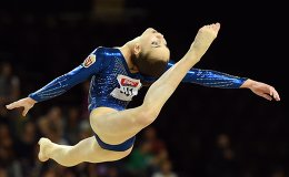 Hungarian Kitti Honti performs in the floor exercise during the women's all-around final at the European Artistic Gymnastics Championships on April 17, 2015 in Montpellier, southern France