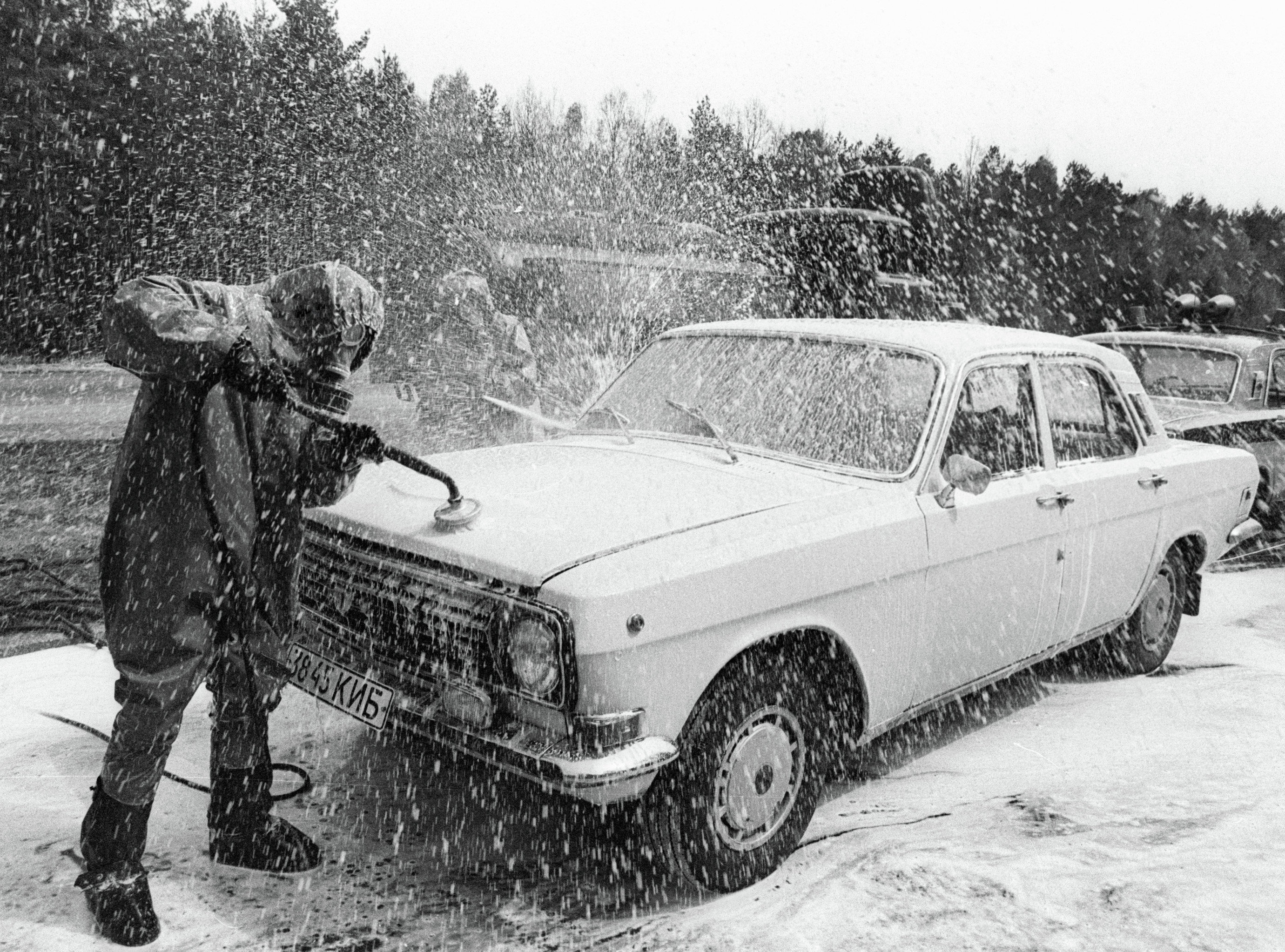 A car leaving the Chernobyl disaster area at the special point of decontamination