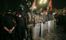 Members of the right wing ultra nationalist Right Sector group