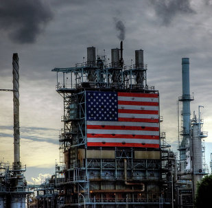 US-flag emblazoned factory on Wilmington Ave and 223rd St in Carson CA (Longbeach