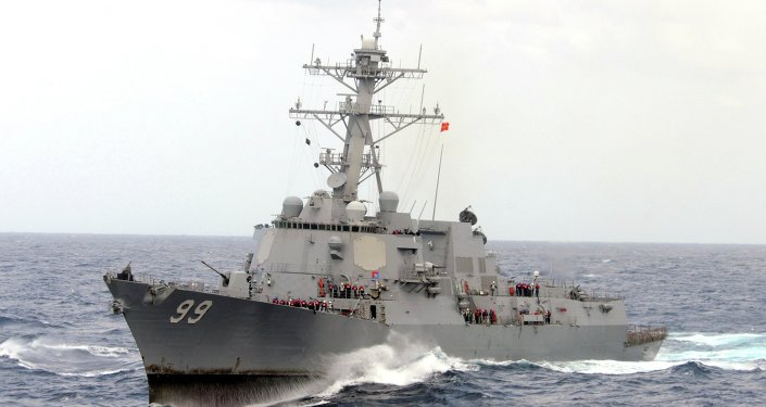 The guided-missile destroyer USS Farragut is shown in this undated photo operating in heavy seas in the Atlantic Ocean