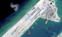 Airstrip construction on the Fiery Cross Reef in the South China Sea is pictured in this April 2, 2015 handout satellite image obtained by Reuters on April 16, 2015