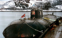 An undated file picture shows the Kursk submarine at base in Vidyayevo, in the Murmansk Region