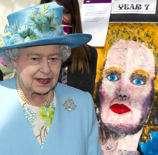 Britain's Queen Elizabeth II walks past a pop-art style painting of former British prime minister Margaret Thatcher.