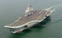 Chinese aircraft carrier Liaoning cruises for a test in the sea. (File)