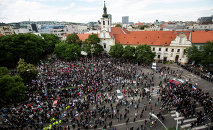Participants gather during an anti-immigration rally organised by an initiative called Stop Islamisation of Europe and backed by the far-right People's Party-Our Slovakia in Bratislava, Slovakia