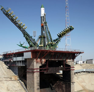 Russia's Progress M-28M cargo ship is mounted on a launch pad at the Russian-leased Baikonur cosmodrome in Kazakhstan on July 1, 2015