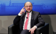 European Parliament President Martin Schulz sits on the podium during the 51. Security Conference Munich, Germany, Saturday, Feb. 07, 2015