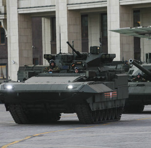 T-15 infantry combat vehicle and T-14 tank with the Armata Universal Combat Platform