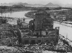 A photo dated September 1945 of the remains of the Prefectural Industry Promotion Building after the bombing of Hiroshima, which was later preserved as a monument. (File)