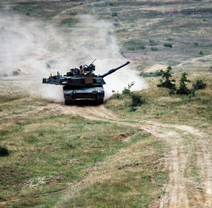 US Army M1A2 Abrams battle tank is pictured during a joint military drill