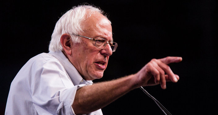 Democratic presidential candidate Sen. Bernie Sanders, I-Vt., speaks at a rally, Monday, Aug. 10, 2015, at the Los Angeles Memorial Sports Arena in Los Angeles