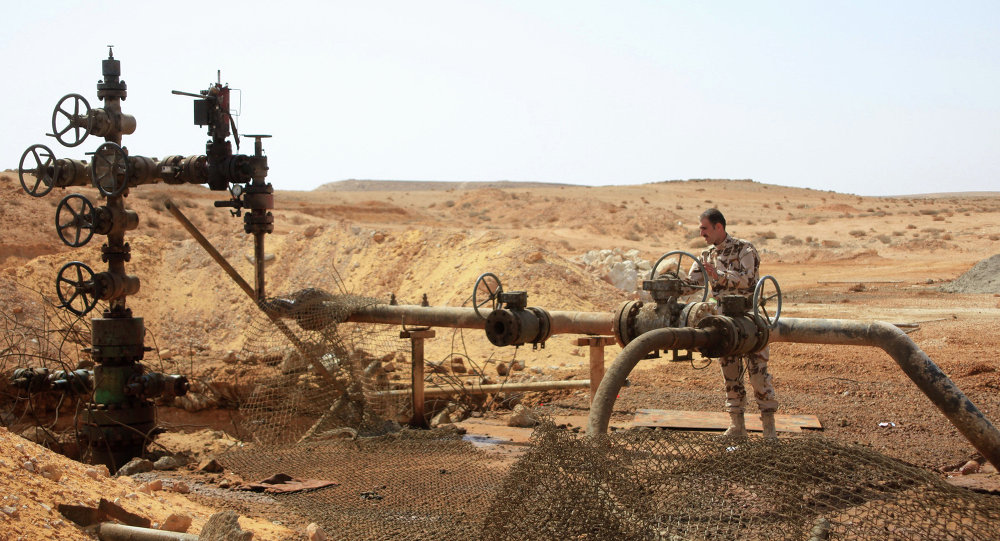 A member of the Syrian government forces stands next to a well at Jazel oil field, near the ancient city of Palmyra in the east of Homs province.
