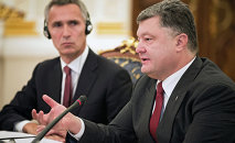 The president of Ukraine Petro Poroshenko (on the right) the NATO Secretary General Jens Stoltenberg during a meeting of the National Security and Defense Council of Ukraine in Kiev