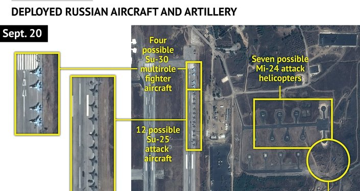 An Airbus Defence and Space satellite image courtesy of Stratfor, a geopolitical intelligence and advisory firm in Austin, Texas, shows at least 16 Russian combat aircraft stationed at the Bassel al Assad air base near the Syrian town of Latakia September 20, 2015