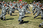 Chinese People's Liberation Army (PLA) soldiers training at their barracks in Heihe, northeast China's Heilongjiang province