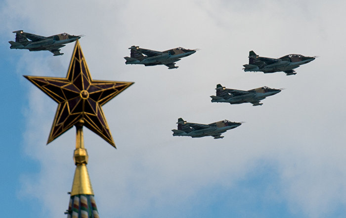 Sukhoi Su-25 aircraft seen here during the rehearsal of the Victory Parade's air show in Moscow
