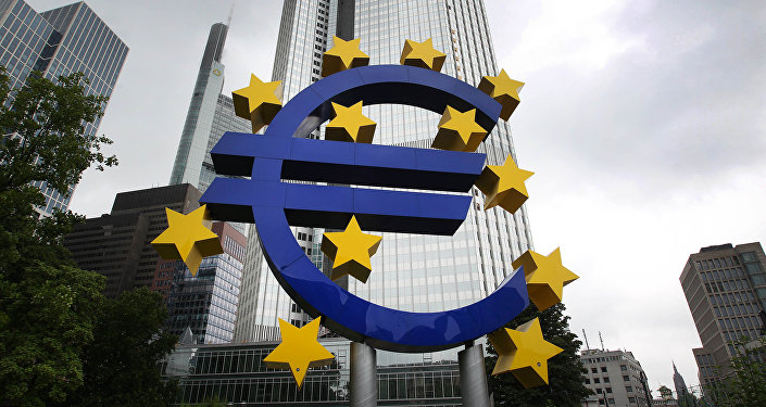 The Euro logo is pictured in front of the former headquarter of the European Central Bank (ECB) in Frankfurt am Main, western Germany, on July 20, 2015