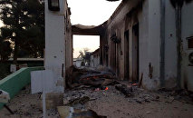 The burned Doctors Without Borders hospital is seen after explosions in the northern Afghan city of Kunduz, Saturday, Oct. 3, 2015