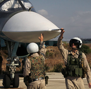 Russian pilots of the Su-34 at the Hmeimim base in Syria.