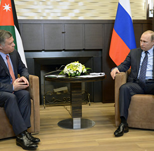Russia's President Vladimir Putin during a meeting with the King of Jordan Abdullah II in Sochi