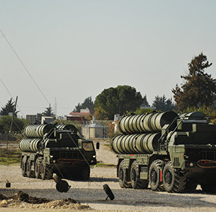 Anti-aircraft missile system S-400 during combat duty to ensure the safety of the Russian air group in Syria