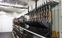 Some AK-47 Kalachnikov assault rifles are stored among some 8,000 weapons at the Criminal Research Institute of the National Gendarmerie (IRCGN), on May 19, 2015 in Pontoise, outside Paris