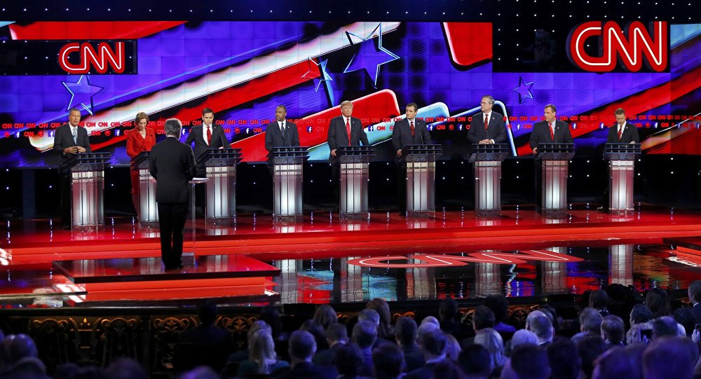 Republican U.S. presidential candidates (L-R) Governor John Kasich, former HP CEO Carly Fiorina, Senator Marco Rubio, Dr. Ben Carson, businessman Donald Trump, Senator Ted Cruz, former Governor Jeb Bush, Governor Chris Christie and Senator Rand Paul participate in the Republican presidential debate in Las Vegas, Nevada December 15, 2015.