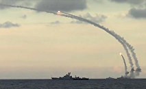 Russia's Caspian Fleet launches Kalibr-NK cruise missiles against Daesh targets in Syria.