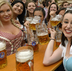 Visitors to the Oktoberfest beer festival
