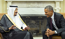 President Barack Obama, right, meets with King Salman of Saudi Arabia in the Oval Office of the White House, on Friday, Sept. 4, 2015, in Washington.